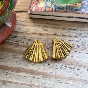 Vintage Monet Gold Tone Pleated Fan Clip Earrings
